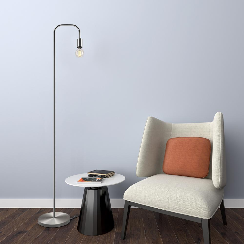 Exposed Bulb Silver Floor Lamp
