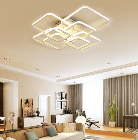 Layered Square LED Chandelier