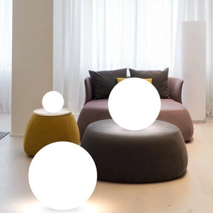Cordless Contemporary White Globe Lamp