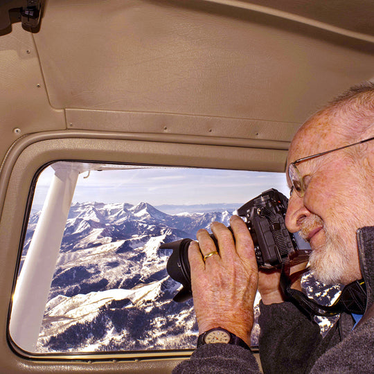 James Niehues taking aerial photos in the Alps