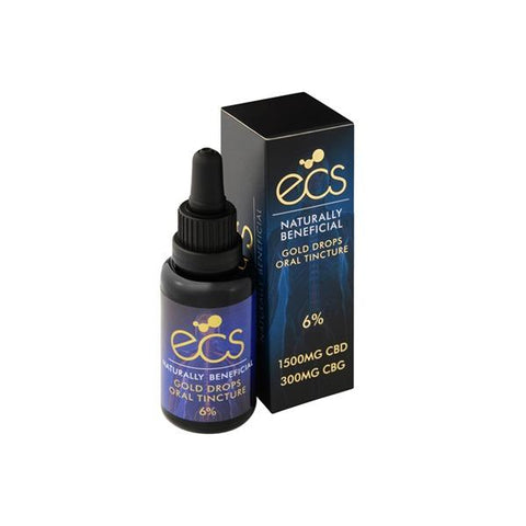 ECS Gold Drops 6% 1500mg CBD + 300mg CBG Oil 30ML