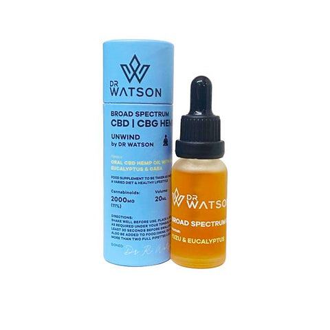 Dr Watson 2000mg CBD + CBG Broad Spectrum Oil 20ml - Unwind