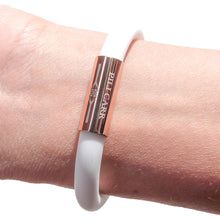 Load image into Gallery viewer, Jetsetter Adjustable Bracelet in Chalky White - Rose Gold