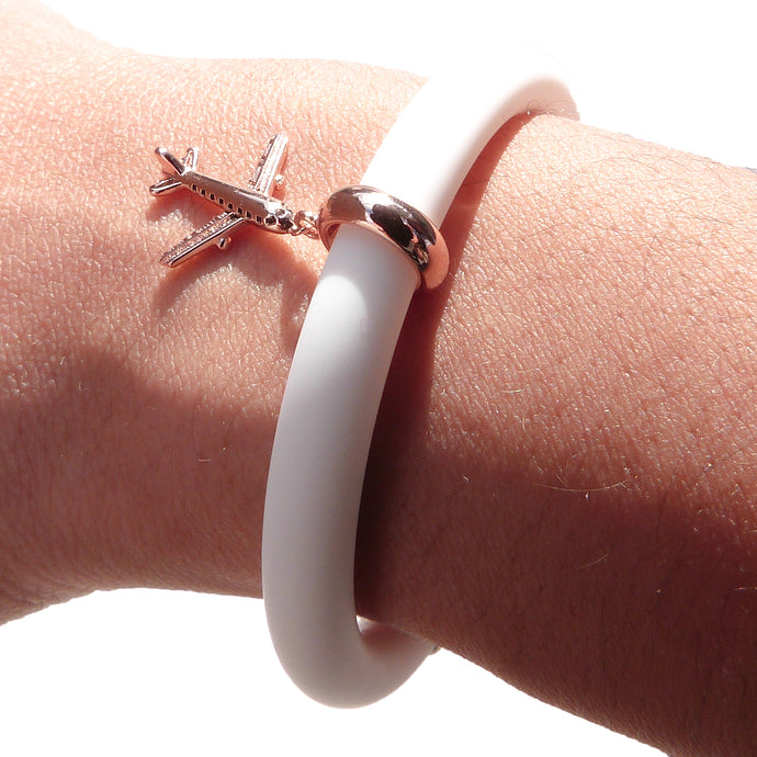 Jetsetter Adjustable Bracelet in Chalky White - Rose Gold