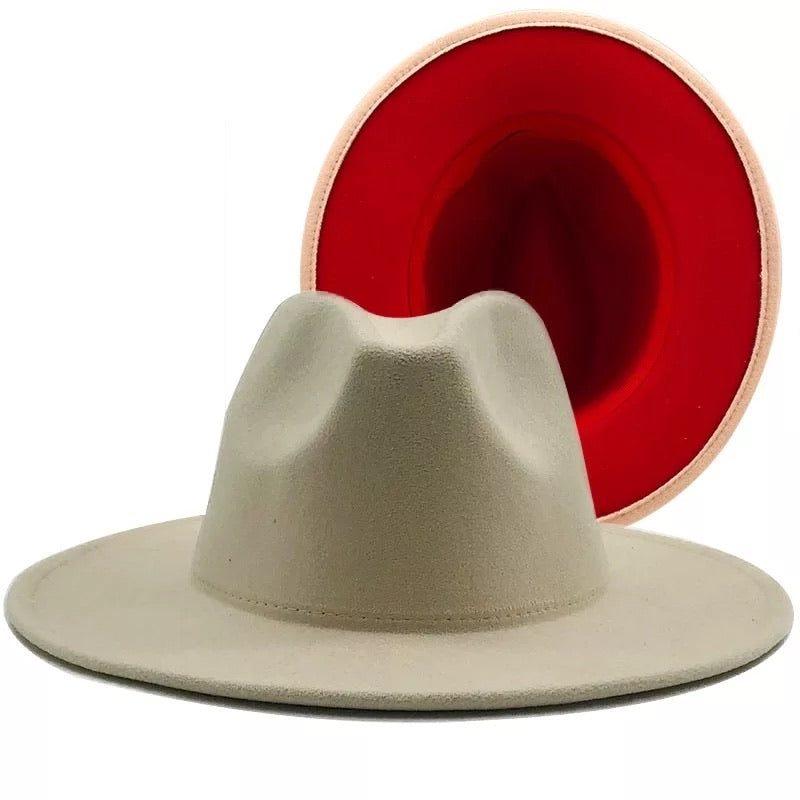 Two Color Felt Fedora Hat
