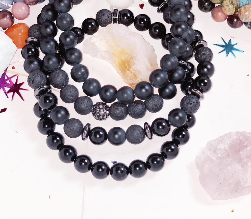 Men Natural 8mm Gemstone Bracelet with or without Diffuser Bracelets