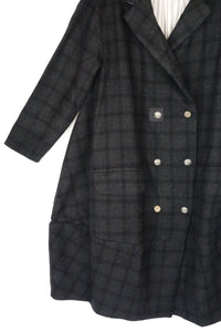 Ewa i Walla Vintage Black Check Military Coat 66326 AW19