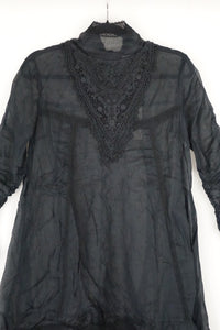 Ewa i Walla Black Cotton Voile Top 44673 AW19
