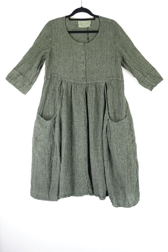 Grizas Smock Linen Dress Green 9741-L209