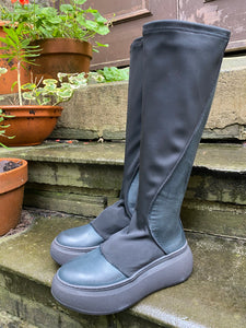 Lofina Platform Stretch Fabric & Leather Boot 21-225 AW20