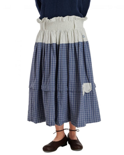 Ewa i Walla Blue Check Skirt 22955 SS20