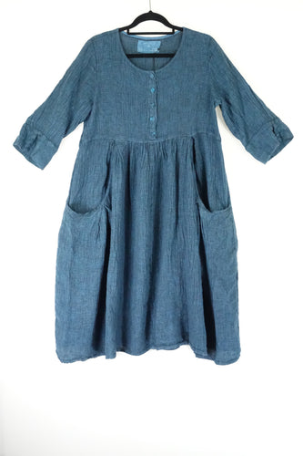 Grizas Smock Linen Dress Teal 9741-L209