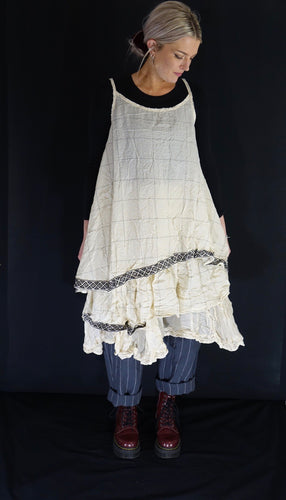 Ewa I Walla Cream Check Cotton Vest Tunic 33270 SS19