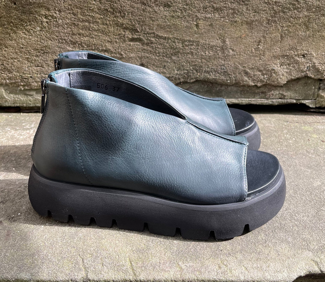 Lofina Dark Teal/Green Leather Shoes/Sandals 1E_506 Gasoline OTTANIO SS21