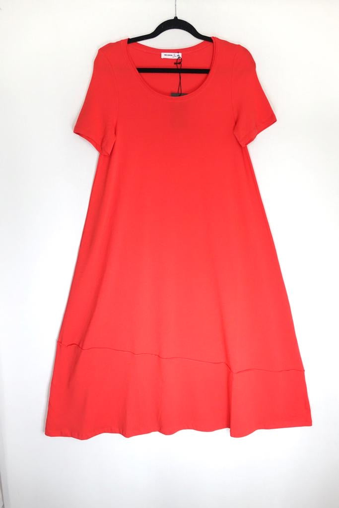 Mes Soeurs Et Moi Cap Sleeve Jersey Dress in Coquelicot - Makeup SS20