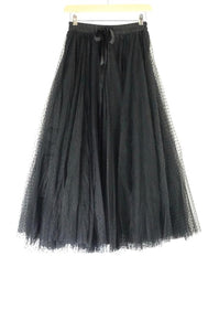 Choklate Long Black Dotted Net Skirt