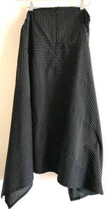Creare Black and White Pinstriped Asymmetric Skirt