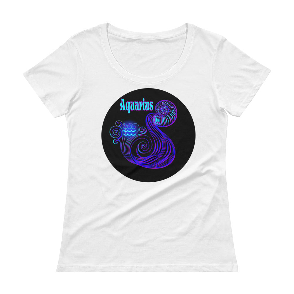 Aquarius Ladies' Scoop Neck T-Shirt | Astrology Emoji's