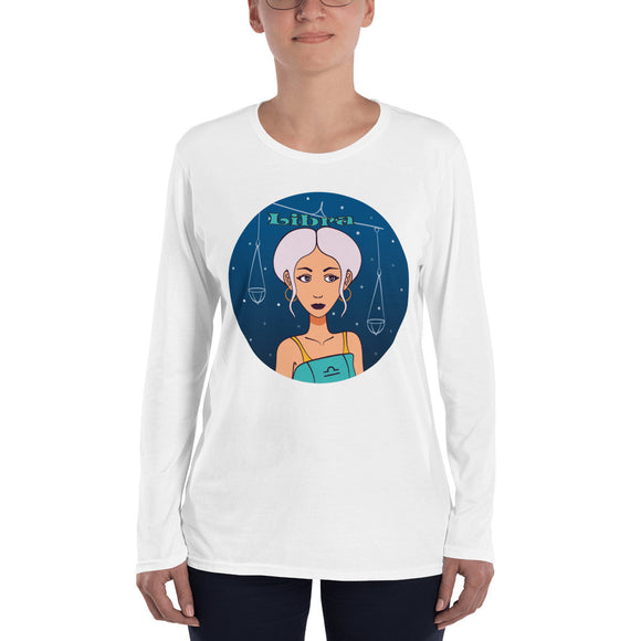 Libra sign Ladies' Long Sleeve T-Shirt | Astrology Emoji's