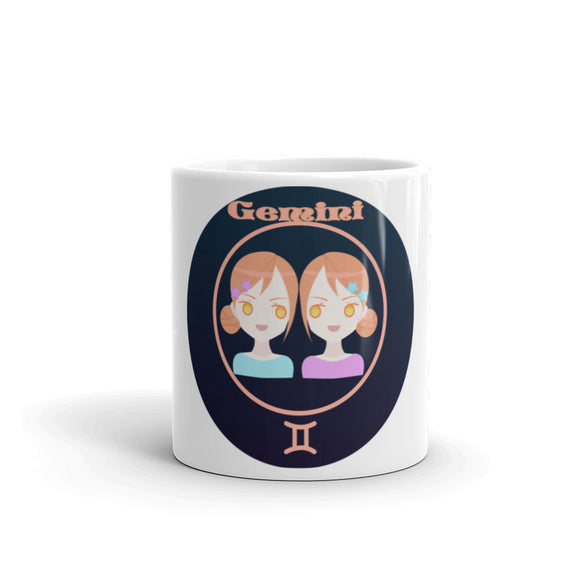 Gemini Oval Mug | Astrology Emoji's