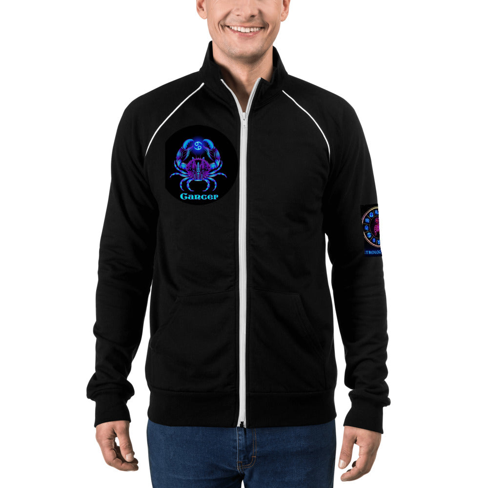 Cancer Piped Fleece Jacket | Astrology Emojis
