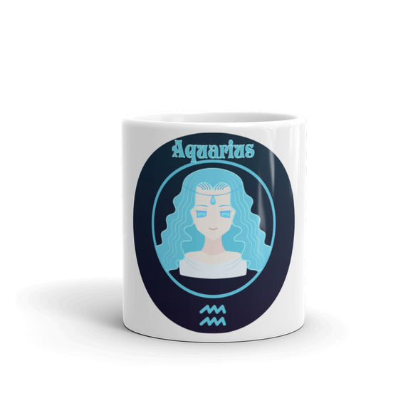 Aquarius Oval Mug | Astrology Emoji's