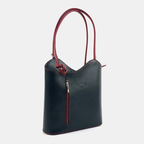 Toscana22 - Butter Leather Black and Red Convertible Shoulder Bag