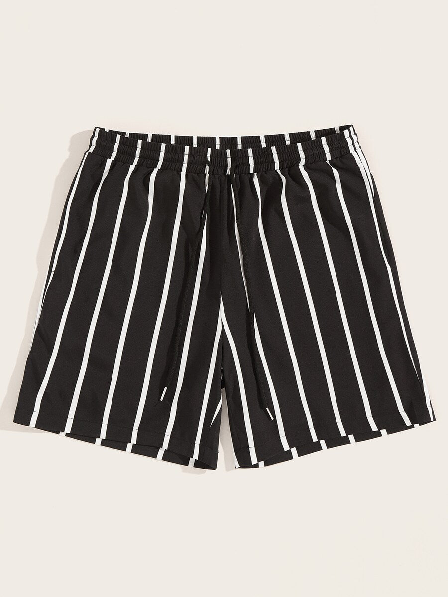Drawstring Waist Vertical Striped Shorts