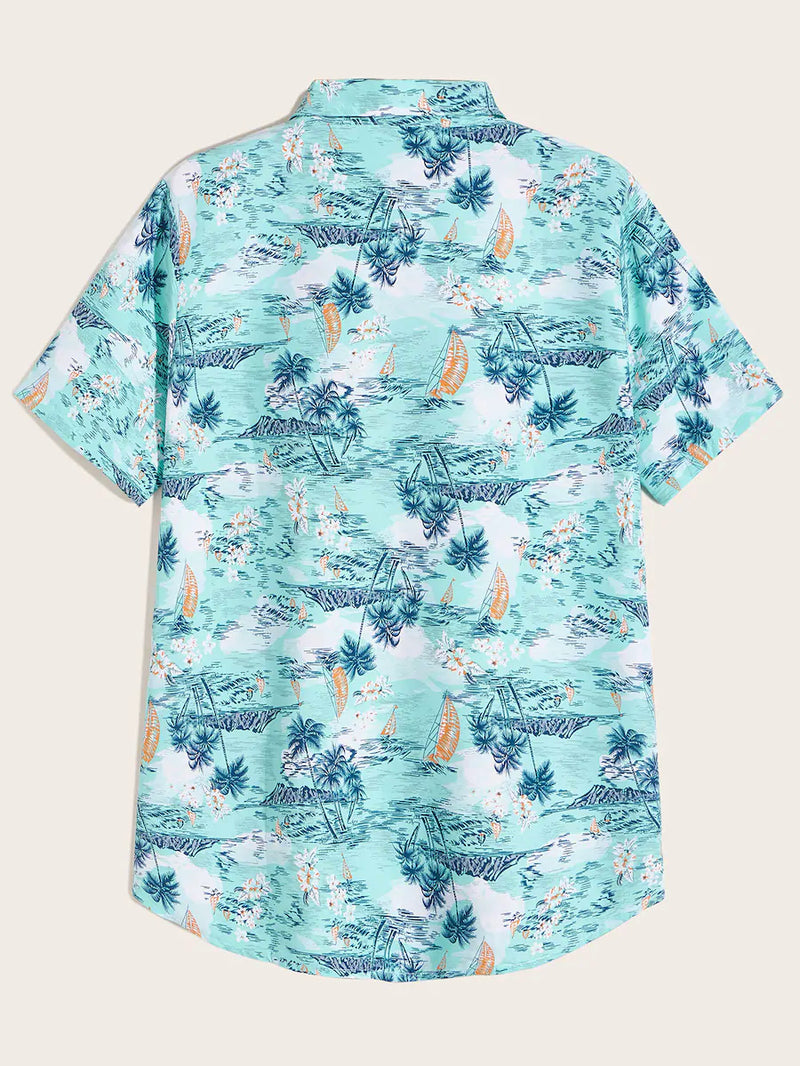 Random Tropical Printed Short Sleeve Button Up Shirt