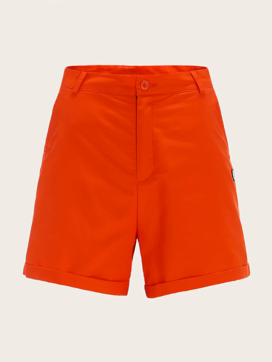 Patched Rolled Hem Shorts