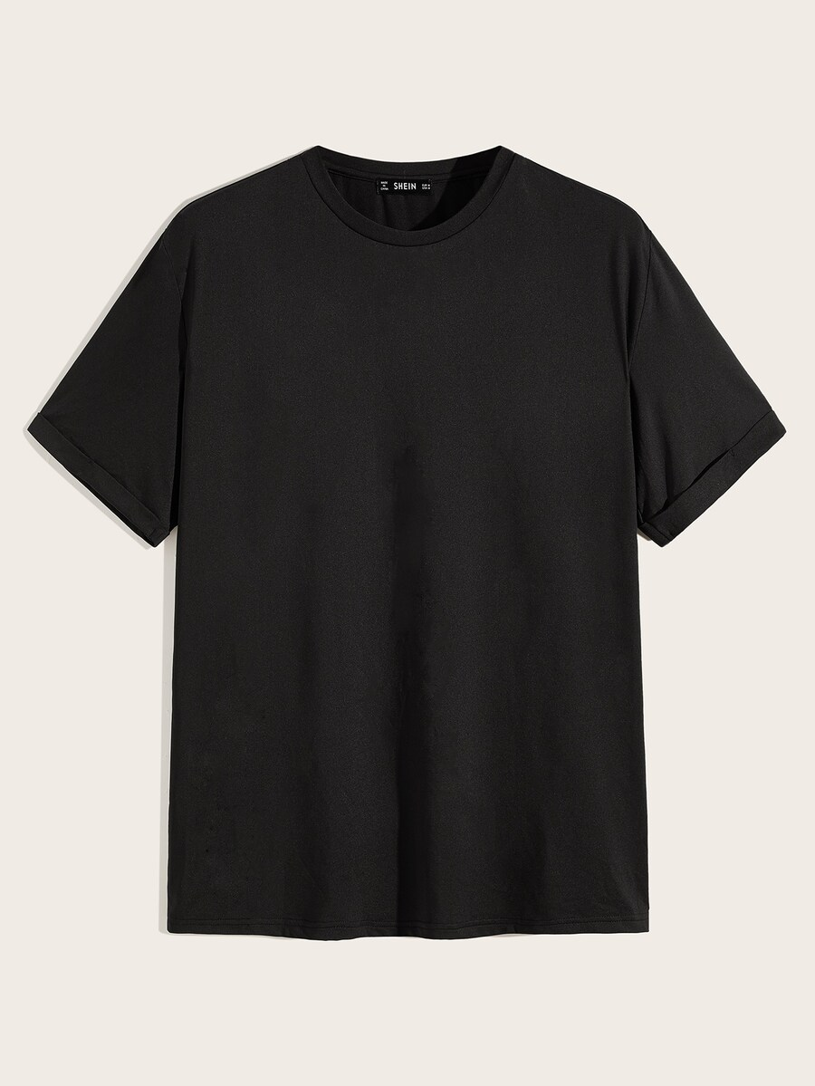 Cuffed Solid Basic Tee