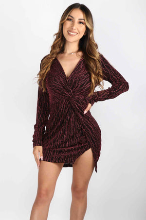 Metallic Plunge Long Sleeve Dress