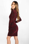 Long Sleeve Velvet Detail Dress