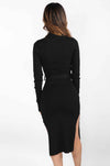 Belted Long Sleeve Mock Neck Dress