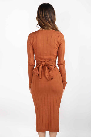 Tie Waist Long Sleeve Dress