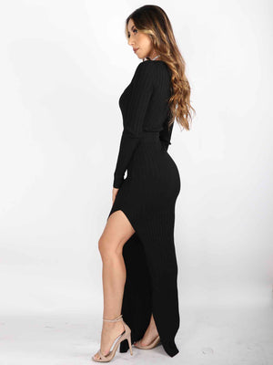Belted Long Sleeve Maxi Dress