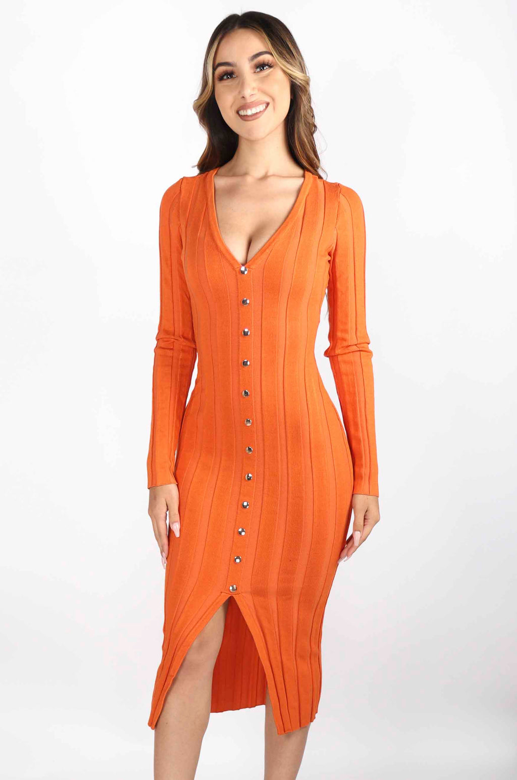 Long Sleeve V Neck Dress with Buttons