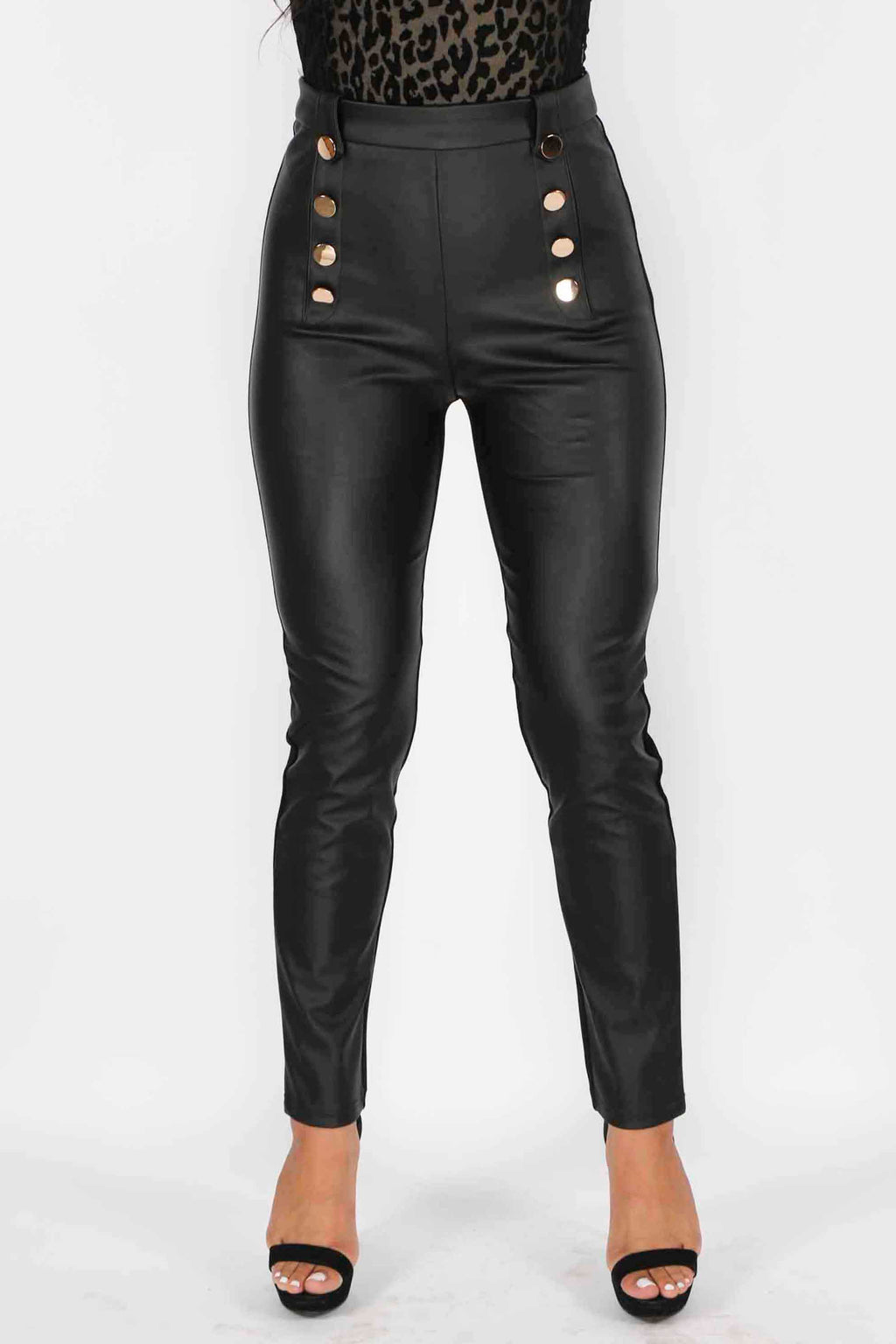 Button Down Pleather Trousers