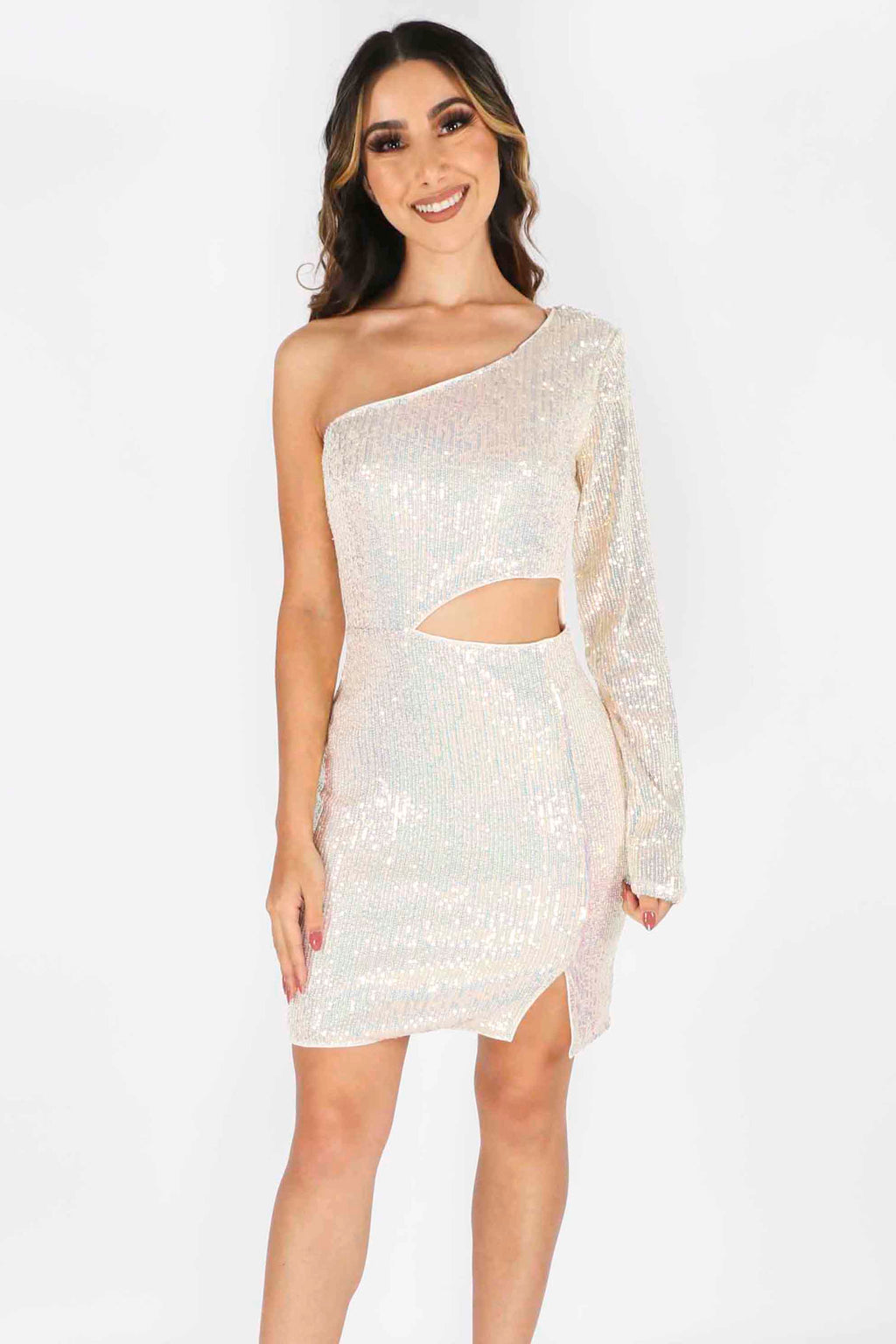 One Sleeve Sparkle Dress