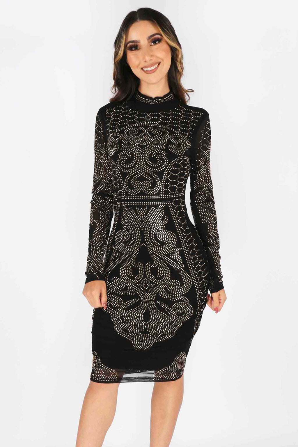 Beaded Long Sleeve Bodycon