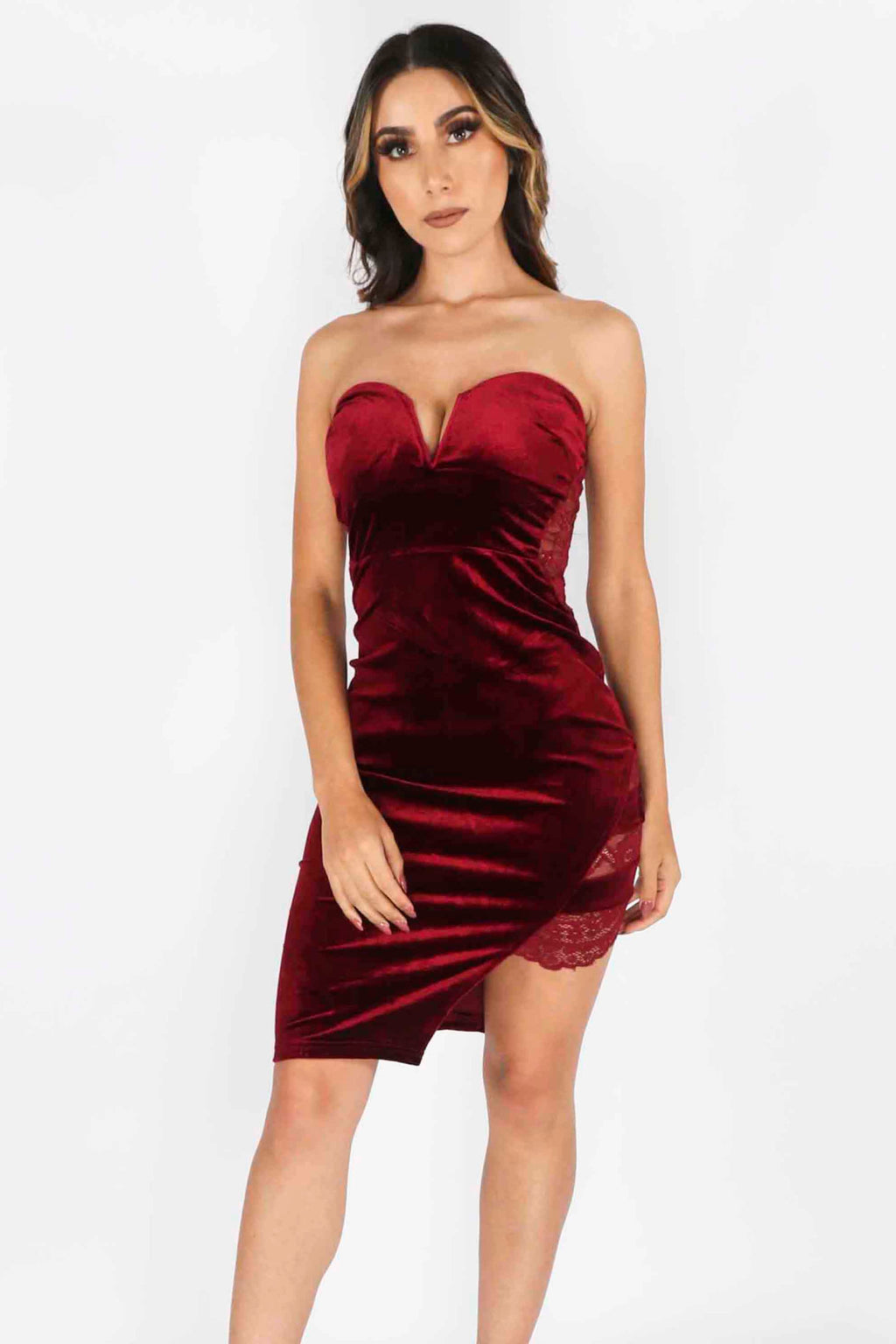 Strapless Velvet Dress with Lace Detail
