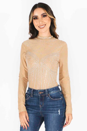 Rhinestone Incrested Bodysuit