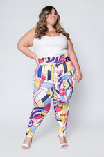 Calça Clochard Plus Size Estampada - Rosa