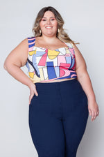 Cropped Plus Size Estampado - Azul