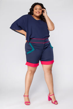 Shorts Plus Size Color Block - Azul Marinho