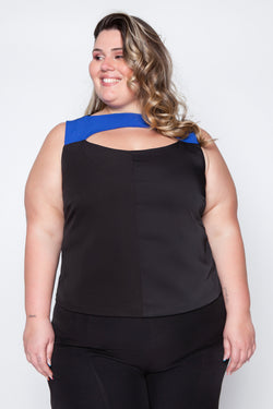 Regata Plus Size Recorte - Preto