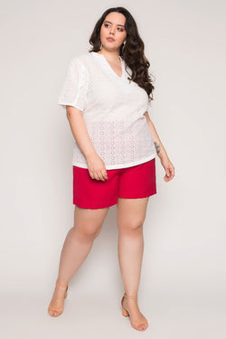Blusa Plus Size Laise - Off White Blusa Lady More 44
