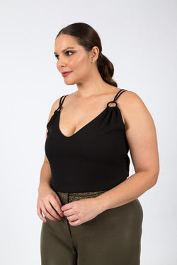Regata Plus Size Crepe Liso - Preta Regata Lady More
