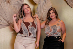 Regata Plus Size Loulé Estampado - Bege Regata Kayla