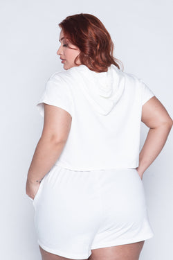 Cropped Plus Size Capuz - Off White